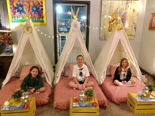 Murphy Moorehead, left, and friends Ella Eatherly and Emily Loyocano participated in glamping at M7 Coffee House in Ridgeland.