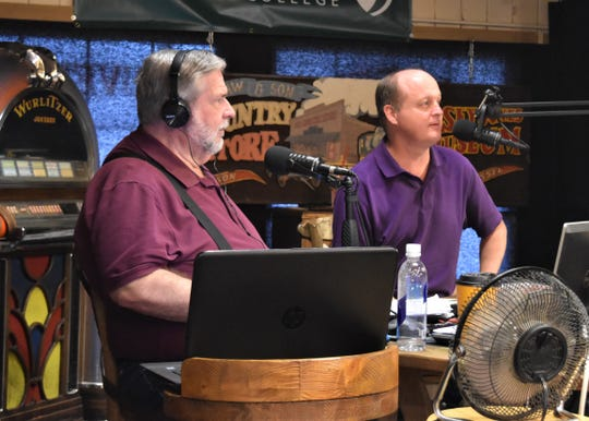 Phillip Barham, right, prepares to discuss suicide prevention with radio show host Jimmy Dukes at the Old Country Store in Jackson on Sept. 19, 2019. Barham is the chairman for the Tennessee Suicide Prevention Network's Rural West Tennessee region.