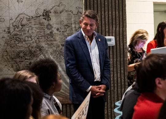 University of Tennessee Interim President Randy Boyd speaks to individual students at Southside High School in Jackson, Tenn., Monday, Sept. 23, 2019. President Boyd encouraged students to take advantage of the UT Promise program that guarantees students a debt-free degree.