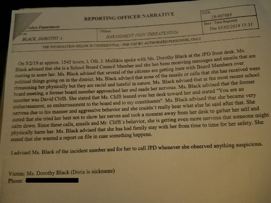 JMCSS Board Member Doris Black filed this police report against David Clifft on May 2, 2019, claiming Clifft verbally harassed her.