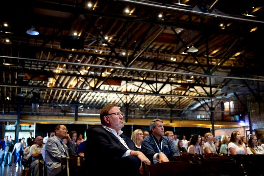 Attendees listen to a pitch during Knoxville Startup Day held at the Mill & Mine in Knoxville, Tennessee on Tuesday, September 24, 2019.