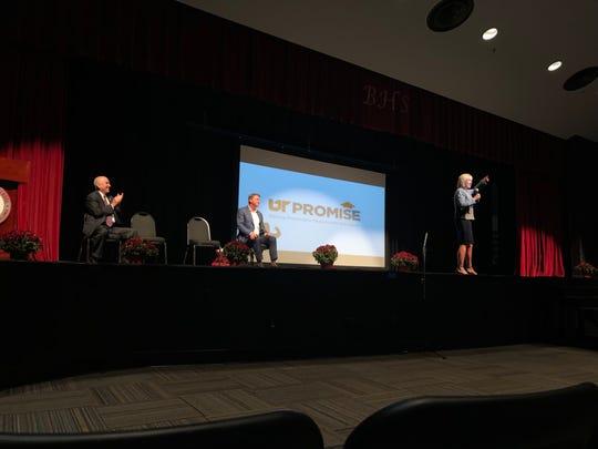 UT-Knoxville Chancellor Donde Plowman talks about the UT Promise program to Bearden High School juniors and seniors on Wednesday, Sept. 25, 2019.