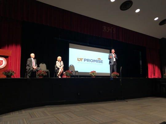 Interim UT System President Randy Boyd talks about the UT Promise program to Bearden High School juniors and seniors on Wednesday, Sept. 25, 2019.