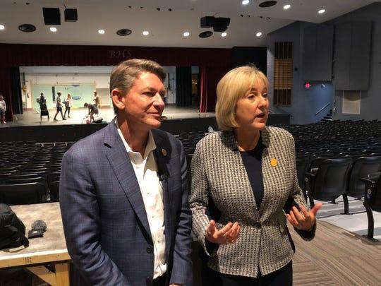 Interim UT System President Randy Boyd and UT-Knoxville Chancellor Donde Plowman talk about the UT Promise program at Bearden High School on Wednesday, Sept. 25, 2019.