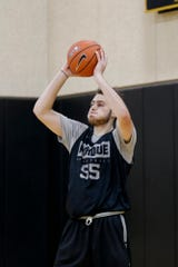 Purdue guard Sasha Stefanovic (55) shoots during a basketball practice, Wednesday, Sept. 25, 2019, at Mackey Arena's Cardinal Court in West Lafayette.