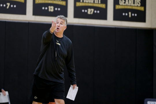 Purdue head coach Matt Painter reacts during practice, Wednesday, Sept. 25, 2019, at Mackey Arena's Cardinal Court in West Lafayette.