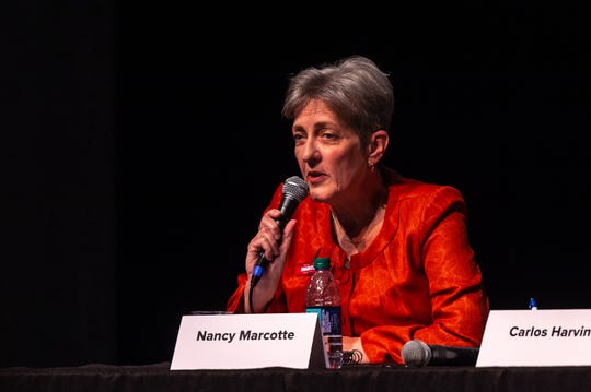 Lafayette mayor-president candidate Nancy Marcotte speaks at a forum concerning downtown development at the Acadiana Center for the Arts Tuesday, Sept. 24, 2019.