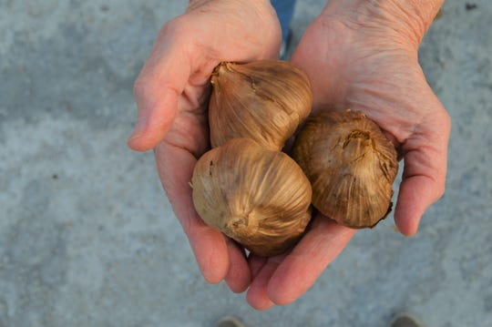 'black garlic' is a fermented version of white garlic that taste like figs and leaves no garlic odor