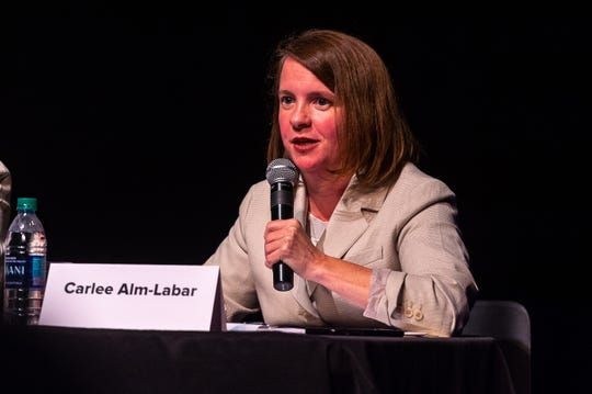 Lafayette mayor-president candidate Carlee Alm-Labar speaks at a forum concerning downtown development at the Acadiana Center for the Arts Tuesday, Sept. 24, 2019.