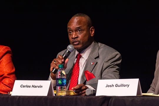Lafayette mayor-president candidate Carlos Harvin speaks at a forum concerning downtown development at the Acadiana Center for the Arts Tuesday, Sept. 24, 2019.