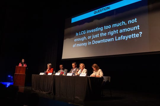 Downtown Development Authority CEO Anita Begnaud, far left, moderates a forum for Lafayette mayor-president candidates, from left, Nancy Marcotte, Carlos Harvin, Josh Guillory, Simone Champagne and Carlee Alm-LaBar at the Acadiana Center for the Arts Tuesday, Sept. 24, 2019.