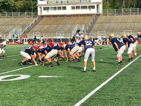 The Lancaster football team practicesTuesday, preparing for Friday's homecoming game against Upper Arlington at Fulton Field.