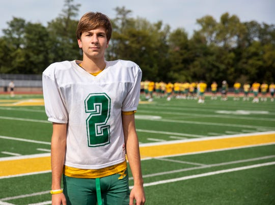 Jeffrey Sexton stands on the field before practice Tuesday, Sept. 24, 2019 in Louisville Ky. After graduation, Sexton will go on to kick for a new Tiger team next year, Princeton.