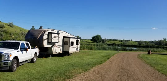 The Huber family of Eaton Rapids boondocked at a free site, Sweetbriar Lake Recreation Area, near Mandan, North Dakota in July 20, 2019. The family spent five weeks on the road but just $33 in camping fees.