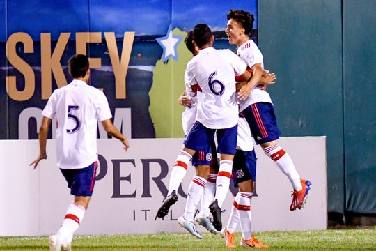 Chicago Fire's Missael Rodriguez, right, celebrates his goal with teammates during the second half on Tuesday, Sept. 24, 2019, at Cooley Law School Stadium in Lansing.