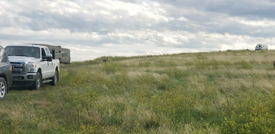 Boondocking site in the National Grasslands outside Badlands National Park, South Dakota Aug. 15, 2019. The Huber family of Eaton Rapids spent more than 30 days on the road but just $33 in camping fees.