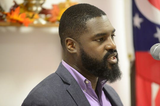 Alomar Davenport, Democratic candidate for the Fourth Ward, spoke Wednesday at luncheon hosted by the Richland County Democratic Party.