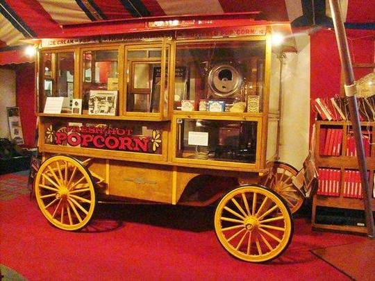 The Wyandot Popcorn Museum's Dunbar wagon was once owned by actor Paul Newman and was used to promote his product for several years in Central Park.