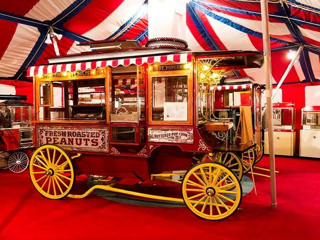 The Cretors Horse Drawn Wagon is a key attraction at the Wyandot Popcorn Museum.