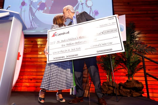 President and CEO of ALSAC Richard Shadyac Jr. kisses Christine Duffy, president of Carnival Cruise Line, as she presents St. Jude Children's Research Hospital with a check for $10 million on the hospital's campus Wednesday, Sept. 25, 2019.