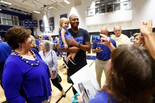 Memphis Tigers Head Coach Penny Hardaway greets fans after practice at the Laurie-Walton Family Basketball Center on Tuesday.