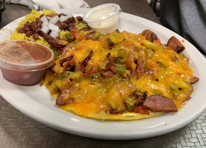 The andouille scramble from Hoot's.