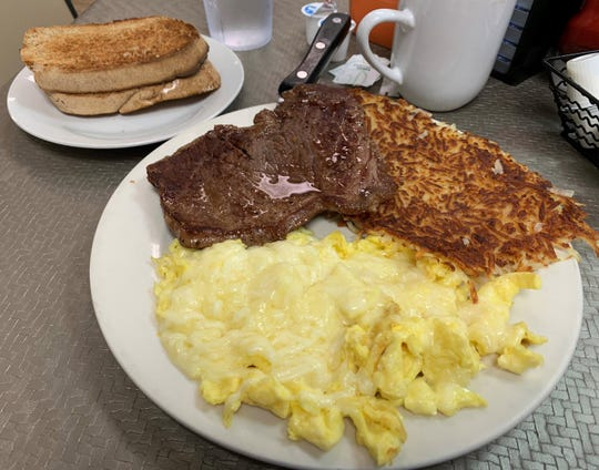 Steak and eggs from Hoot's.