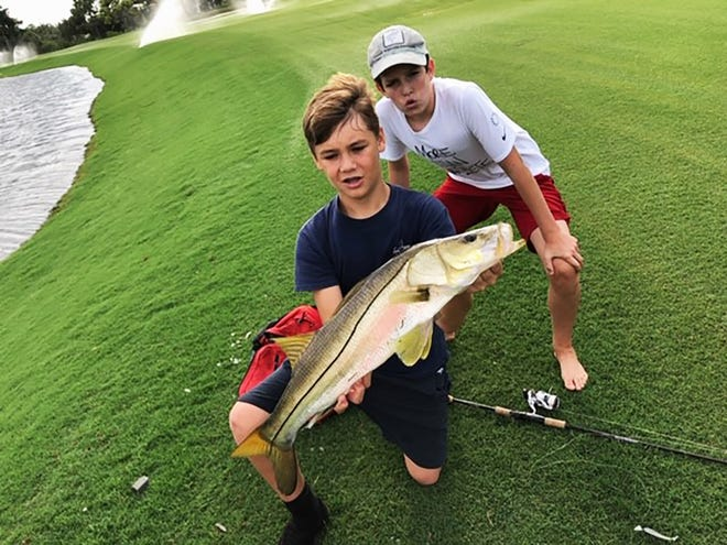 Hayden Koehler, 13, and Trey Hill, 13, of Naples landed and released a 30 and 32-inch snook in Bonita Bay over the weekend with white swim bait on white jig.