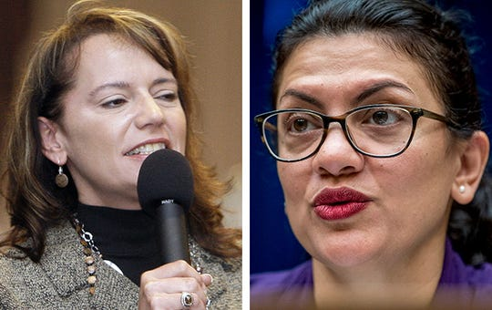 Wisconsin conserative radio host Vicki McKenna, left, and U.S. Rep. Rashida Tlaib, right.