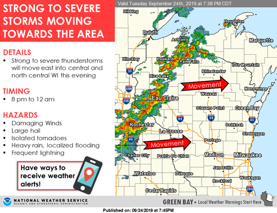 Strong to severe storms were moving into the state about 8 p.m.