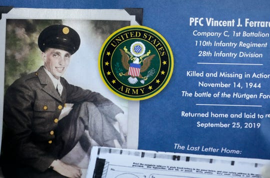 Pfc. Vincent J. Ferrara  was reported missing on Nov. 14, 1944, in Germany.