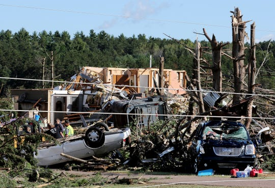 A home and cars were destroyed by a tornado Tuesday night in the Town of Wheaton, just off Highway 29 and County Highway M in Chippewa County. At least one confirmed tornado touched down as severe storms ripped through western Wisconsin, damaging homes and other structures near the Chippewa-Dunn counties line.