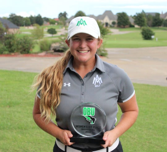 Former Mountain Home High School golfer Leah Rowe, who plays for the University of Arkansas-Monticello, won the Oklahoma Baptist Fall Invitational on Tuesday in Shawnee, Okla.