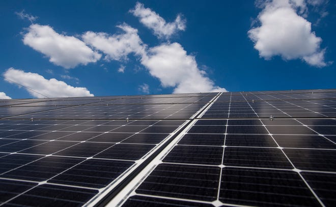 Solar panels on Ireland Farms in Alpine, Ala., are seen on Wednesday September 25, 2019.