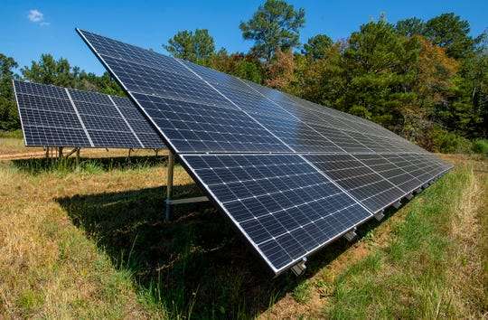 Solar panels on Ireland Farms in Alpine, Ala., are seen on Wednesday September 25, 2019.