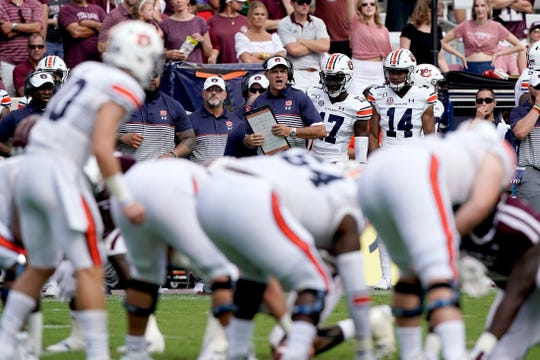 Auburn head coach Gus Malzahn calls a play against Texas A&M on Saturday, Sept. 21, 2019, in College Station, Texas.