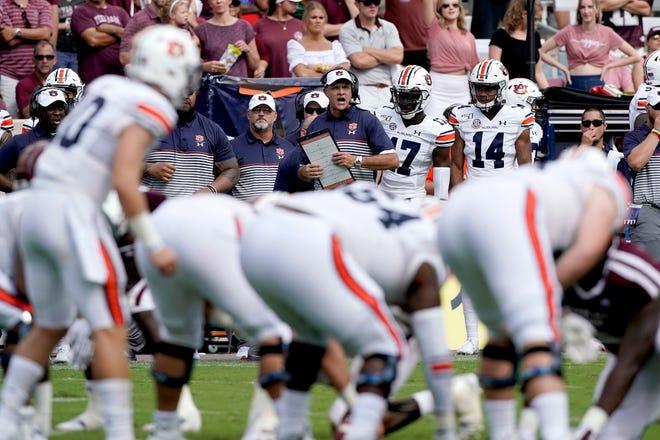 Auburn head coach Gus Malzahn calls a play against Texas A&M on Saturday, Sept. 21, 2019, in College Station, Texas.