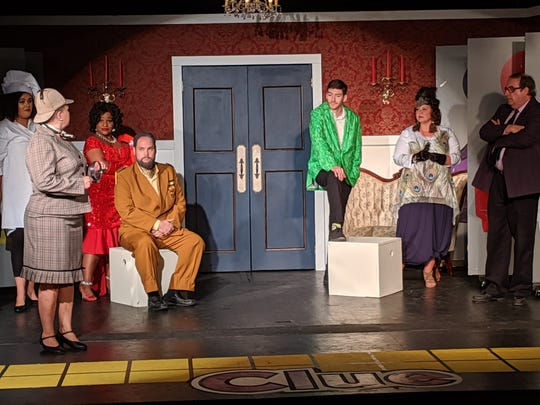 "The cast of ""Clue the Musical,"" which opens Thursday from Prattville's Way Off Broadway Theatre."