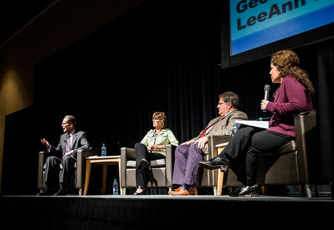 Ball State president Geoffrey Mearns (from left), Lee Ann Kwiatkowski, Jim Williams and Susana Rivera-Mills speak to attendees of an MCS Academic Innovation Summit at the Horizon Convention Center Wednesday.