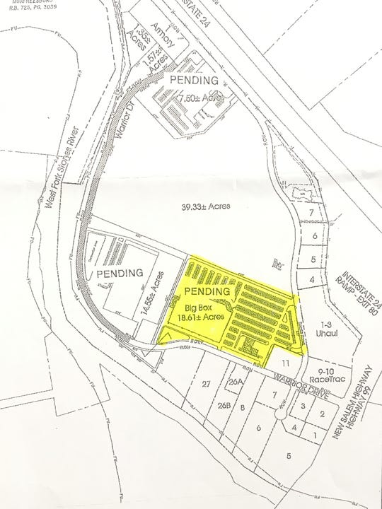This map shows in yellow where Costco plans to open a store on Warrior Drive northwest of the New Salem Highway interchange at Interstate 24.