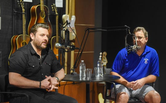 Vince Gill and Chris Young record a Tennessean podcast at Belmont University in Nashville, Tenn., Sept. 4, 2019.