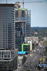 The construction business is booming along Broadway in Nashville with 1200 Broadway, Nashville Yards and 5th & Broad all under construction within a few blocks of each other on Sept. 24, 2019.