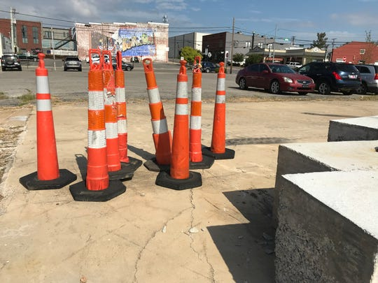 The site where construction on a new parking lot will begin in a few weeks at the corner of College and Church streets in Downtown Dickson.