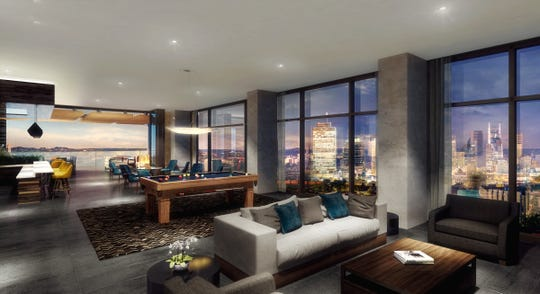 An architectural rendering of the sky deck at 1200 Broadway apartments