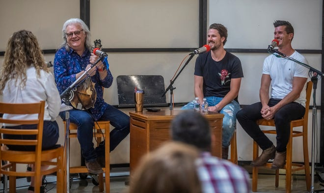Ricky Skaggs and High Valley speak during the recording of the Country Mile podcast at Quonset Hut Studios Thursday, August 15, 2019.