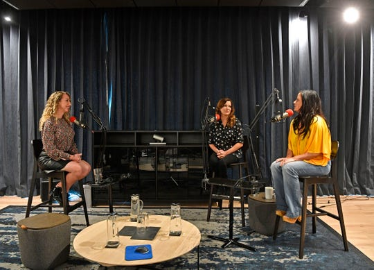 Martina McBride and Sara Evans following the Country Mile podcast taping with Cindy Watts, left. Wednesday, Sept. 25, 2019, in Nashville, Tenn.