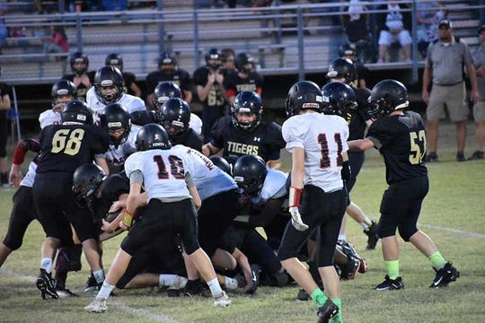The Fairview Middle School Falcons won the MTAC Playoff game against the Charlotte Tigers on Sept. 24, 2019, 34-6.