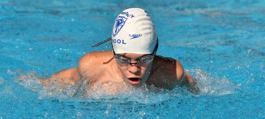 Community School of Naples Alexander Weddell swimming the boys 200 yard IM during the Private 8 Conference swimming meet featuring small high schools from Collier and Lee counties in Naples,Wednesday, Sept. 25, 2019.