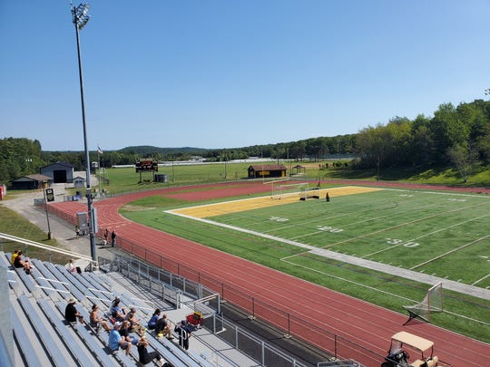 The view from West Milford High School's press box includes the blue field house named in honor of former school board member Greg Bailey. Both were part of roughly $1 million of athletic infrastructure installed in 2019.