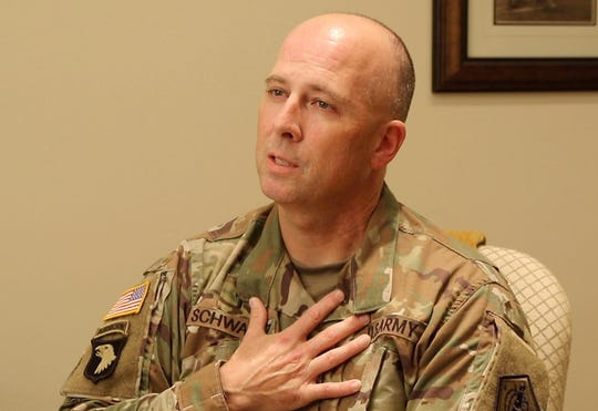 Army Chaplain, Major Darren Schwartz being interviewed at Fisher House where he spoke about the units commitment to the fallen soldiers.  It is part of the mortuary at Dover Air Force Base in Delaware where the remains of America's military who have fallen arrive and are prepared before being released to their families.